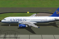 Screenshot of Cyprus Airways Airbus A320-200 taxiing to runway.