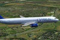 Screenshot of Cyprus Airways Airbus A321-200 in flight.