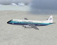 Screenshot of Cyprus Airways Viscount 813 in flight.
