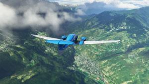 DA62 flying over valley.
