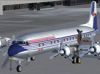 Screenshot of DC6B 'The Flying Bulls' on the ground.