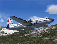 DDA Douglas DC-4-1009 shortly after take-off.