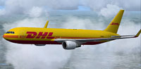 Screenshot of DHL Boeing 767-3JHF in flight.