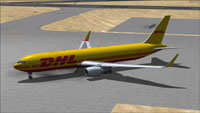 Screenshot of DHL Air Boeing 767-300F on the ground.