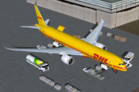 Screenshot of DHL Boeing 787-9 Cargo and ground services.