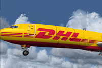 Screenshot of DHL Express Boeing 727-200F in the air.