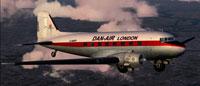 Screenshot of Dan-Air Douglas DC-3 in flight.