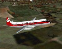 Screenshot of Dan Air Vickers Viscount 804 in flight.