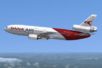 Screenshot of Dana Air McDonnell Douglas DC-10-40D in flight.