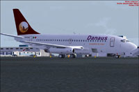 Screenshot of Danaus Airlines Boeing 737-200 on the ground.
