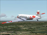Screenshot of Danish Douglas DC-3 in the air.