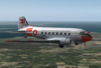 Screenshot of Danish Douglas DC-3 in flight.