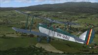 Screenshot of DeHavilland Cirrus Moth VH-UAU in flight.