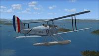 Screenshot of DeHavilland Cirrus Seaplane A7-13 in flight.