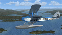 Screenshot of DeHavilland Cirrus Seaplane G-EBXU in flight.