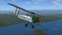 Screenshot of DeHavilland Gipsy Moth CF-AGX in flight.