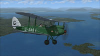 Screenshot of DeHavilland Gipsy Moth G-AAAH in flight.