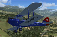 Screenshot of DeHavilland Gipsy Moth HB-AFO in flight.