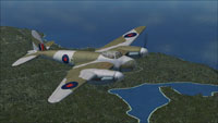 Screenshot of DeHavilland Mosquito PR.IV DK310 in flight.