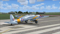 Screenshot of DeHavilland Mosquito TA634 on runway.