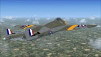 Screenshot of DeHavilland Vampire FB5 VX474 in flight.
