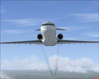Screenshot of CRJ-700 in flight, leaving a smoke trail.