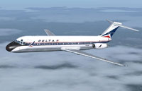 Screenshot of Delta Air Lines DC-9-30 in flight.