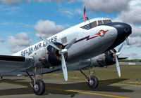 Close up of Delta Air Lines Douglas DC-2 on runway.