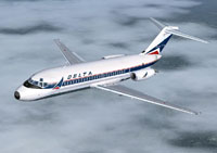 Screenshot of Delta Air Lines Douglas DC-9-10 in flight.