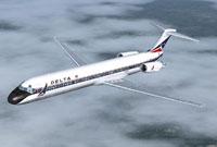 Screenshot of Delta Air Lines MD-88 in flight.