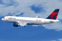 Screenshot of Delta Airlines Airbus A320 in flight.