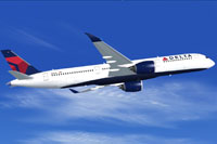 Screenshot of Delta Airlines Airbus A350-900 in flight.