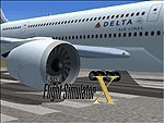Splash Screen showing close up of Delta Airlines Airbus A370 engine.
