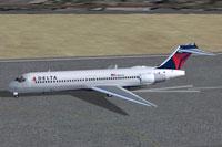 Screenshot of Delta Airlines Boeing 717-200 on runway.