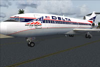Screenshot of Delta Airlines Boeing 727-100 in Bicentennial livery.