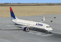 Screenshot of Delta Airlines Boeing 737-800 on the ground.