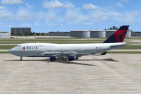 Screenshot of Delta Airlines Boeing 747-400 on the ground.