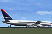 Screenshot of Delta Airlines Boeing 767-332ER on the ground.