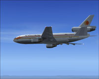 Screenshot of Delta Airlines Douglas DC-10-10 in flight.