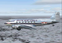 Screenshot of Delta Airlines Douglas DC-3 heading west.
