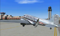 Screenshot of Delta Airlines Douglas DC-3 on the ground.