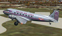 Screenshot of Delta Airlines Douglas DC-3 in the air.