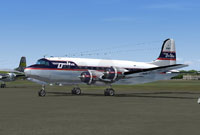 Screenshot of Delta Airlines Douglas DC-4 on the ground.