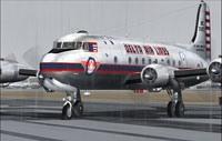 Screenshot of Delta Airlines Douglas DC-4 taxiing to runway.