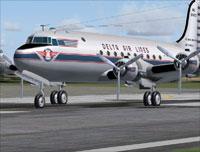 Screenshot of Delta Airlines Douglas DC-4 on runway.