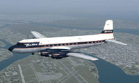 Screenshot of Delta Airlines Douglas DC-6 in flight.