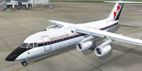 Screenshot of Delta Connection BAe 146-200 on the ground.