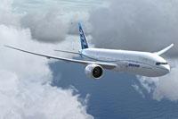 "Screenshot of Boeing ""Demonstrator"" 777-200LR in flight."