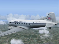 Screenshot of Derby Airways Douglas DC-3 G-AGJV in flight.