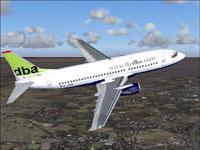 Screenshot of Deutsche BA Boeing 737-300 in flight.